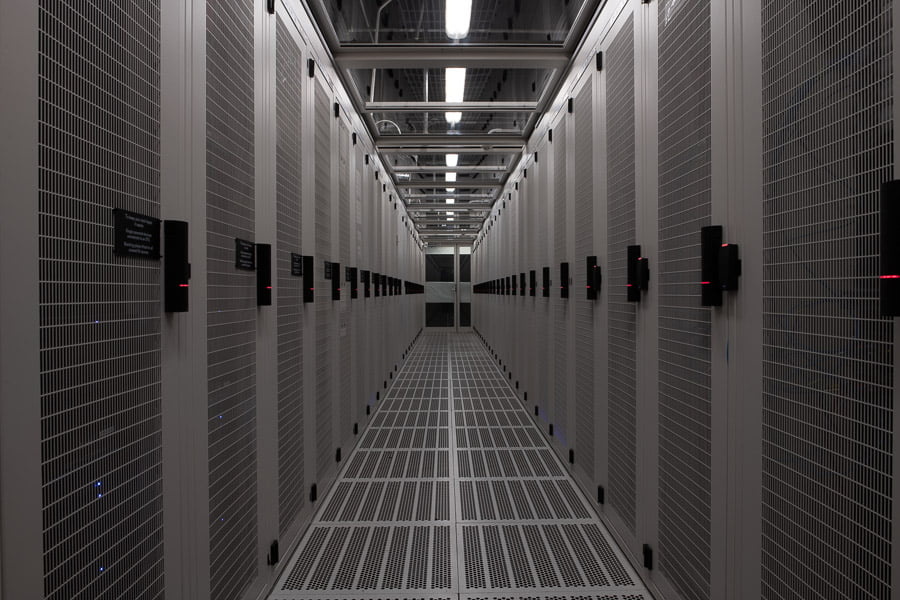 empty data centre aisle